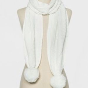 A New Day- ribbed poms scarf- cream